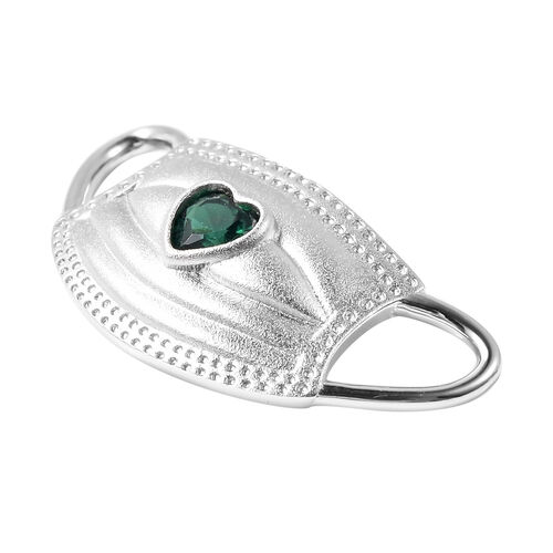 Simulated Emerald Heart on Mask Charm or Pendant in Rhodium Overlay Sterling Silver