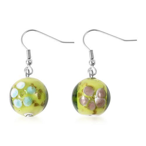 Green Colour Murano Glass Drop Hook Earrings in Stainless Steel