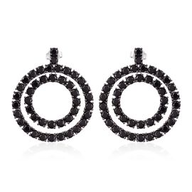 Boi Ploi Black Spinel (Rnd) Earrings (with Push Back) in Rhodium Overlay Sterling Silver 9.500 Ct. Silver Wt. 9.80 Gms