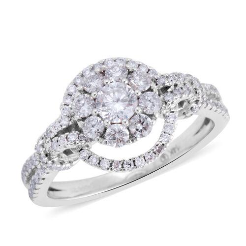 1 Carat Diamond Cluster Ring in 14K White Gold 3.5 Grams I1-I2 GH