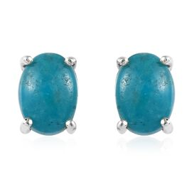 Kingman Turquoise (Ovl) Stud Earrings (with Push Back) in Platinum Overlay Sterling Silver 1.500 Ct.