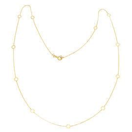 Italian Made 9K Yellow Gold Station Circle Necklace (Size 24)