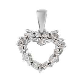 Diamond (Bgt) Heart Pendant in Platinum Overlay Sterling Silver 0.252 Ct.