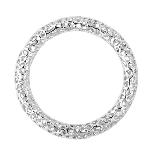 RACHEL GALLEY Rhodium Overlay Sterling Silver Allegro Bangle (Size 8.5), Silver wt 39.50 Gms