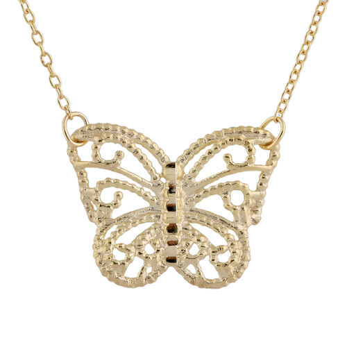 Hatton Garden Close Out - 9K Yellow Gold Butterfly Necklace (Size 18)
