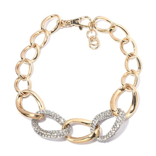 White Austrian Crystal (Rnd) Necklace (Size 21 with 2 inch Extender) in Silver and Yellow Gold Plated