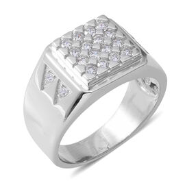 ELANZA Simulated Diamond (Rnd) Ring in Rhodium Overlay Sterling Silver, Silver wt 5.90 Gms