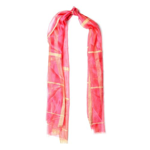 New Season-Pink Colour Scarf with Golden Threads ( 35% Silk Content) (Size 180x70 cm)