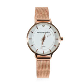 DIAMOND & CO LONDON- Diamond Studded Watch with Mesh Style Strap - Rose Gold Tone