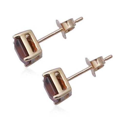 9K Yellow Gold Sunset Zircon (Asscher Cut) Solitaire Stud Earrings 3.43 Ct.