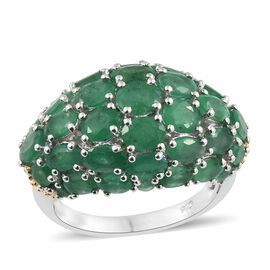 7 Carat Zambian Emerald Cluster Ring in Gold Plated Sterling Silver 6.80 Grams