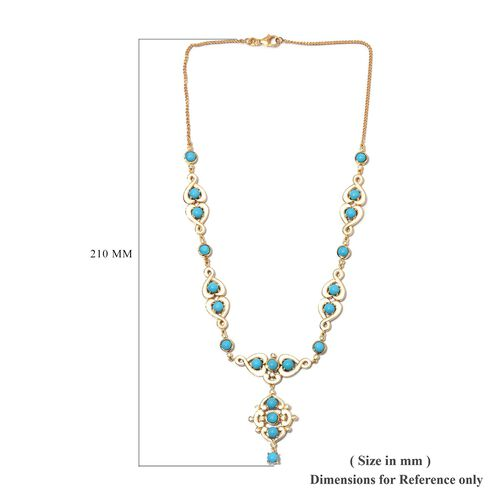 Arizona Sleeping Beauty Turquoise, Natural Cambodian Zircon Enamelled Necklace (Size 18) in 14K Gold Overlay Sterling Silver 11.25 Ct, Silver wt 20.00 Gms