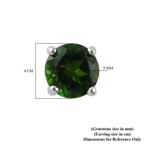 Russian Diopside Solitaire Stud Push Post Earring in Platinum Overlay Sterling Silver 0.23 ct  1.000  Ct.