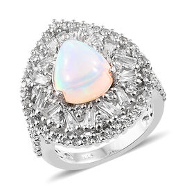 4.50 Ct Ethiopian Welo Opal and White Topaz Halo Ring in Platinum Plated Silver 6.36 Grams