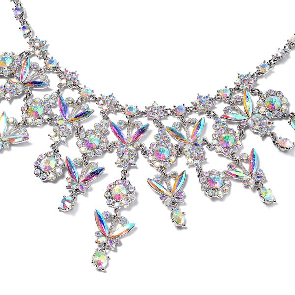 2 Piece Set - Simulated Mercury Mystic Topaz (Mrq), Simulated Mystic White Crystal Necklace (Size 20 with 3 Inch Extender) and Earrings (with Push Back) in Silver Tone