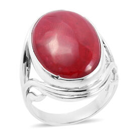 Royal Bali Collection - Sponge Coral (Ovl) Ring in Sterling Silver, Silver wt 6.67 Gms