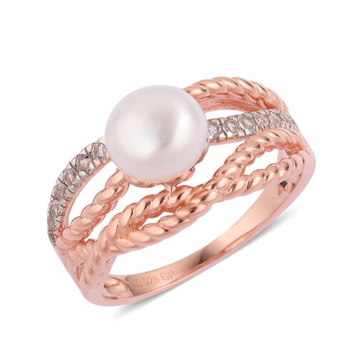 GP Fresh Water Pearl (Rnd 8-8.5mm), Natural White Cambodian Zircon and Madagascar Blue Sapphire Ring in Rose Gold Overlay Sterling Silver