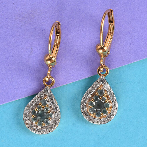 Narsipatnam Alexandrite and Natural Cambodian Zircon Cluster Drop Lever Back Earrings in 14K Gold Overlay Sterling Silver 1.25 Ct.