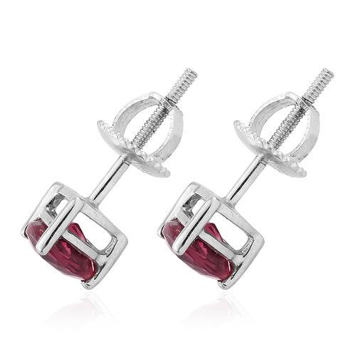 RHAPSODY 950 Platinum AAAA Ouro Fino Rubelite (Trl) Stud Earrings (with Screw Back) 1.150 Ct.