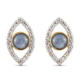 Australian Boulder Opal and Natural Cambodian Zircon Eye Stud Earrings (with Push Back) in 14K Gold