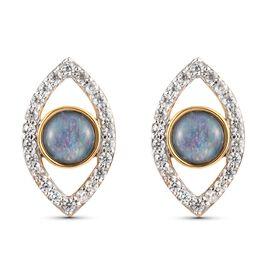 Zircon, Boulder Opal Fancy Earring in 14K Gold Overlay Sterling Silver 0.43 ct  2.085  Ct.