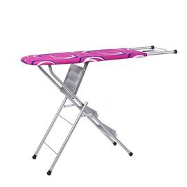 Multi-function Foldable Ironing Board with Step Ladder - Rose Pink & White (Folding Size: 96x34cm) (