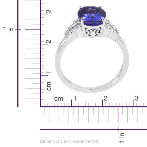 ILIANA 18K W Gold AAA Tanzanite (Ovl), Diamond (SI/G-H) Ring 4.000 Ct.