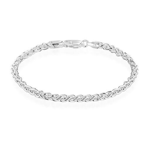 JCK Vegas Collection Spiga Chain Bracelet in Rhodium Plated Silver 7.5 Inch