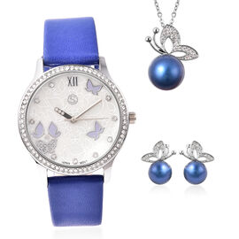 3 Piece Set - Simulated Diamond, Blue Shell Pearl and White Austrian Crystal Butterfly Watch with Bl