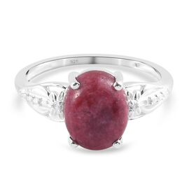 Thulite and Natural Cambodian Zircon Ring in Sterling Silver 3.02 Ct.