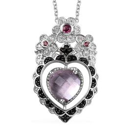 GP Rose De France Amethyst (Hrt), Multi Gemstone Pendant with Chain (Size 18) in Platinum Overlay St