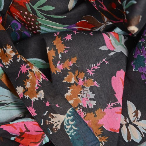 100% Cotton Black, Fuchsia and Multi Colour Flower, Leaves and Birds Pattern Gown (Size 100x65 Cm)