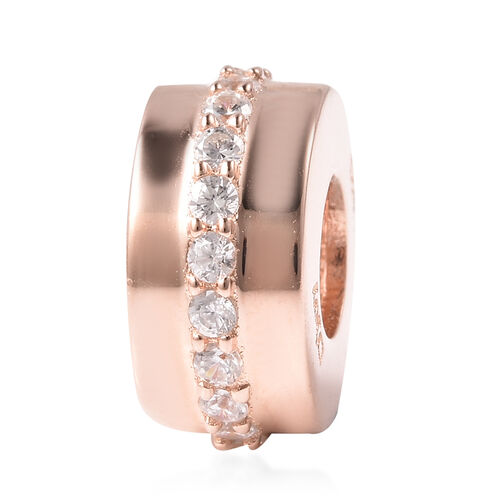 Charms De Memoire Simulated Diamond Charm in Rose Gold Overlay Sterling Silver