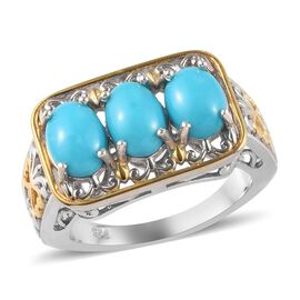 Arizona Sleeping Beauty Turquoise (Ovl) Three Stone Ring in White and Yellow Gold Overlay Sterling S