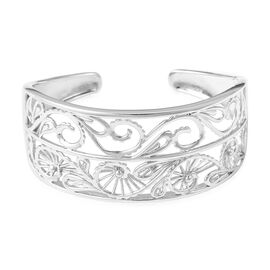 Super Auction - LucyQ Lace Collection Rhodium Overlay Sterling Silver Cuff Bangle (Size 7.5), Silver