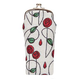 SIGNARE - Tapestry Mackintosh Rose Glasses Pouch ( 11x20xx1cm)
