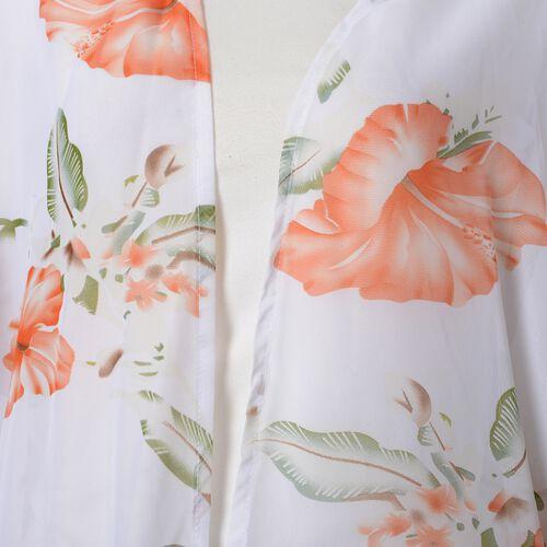 White, Orange, Green and Multi Colour Flower Pattern Kimono with Lotus Leaf Sleeves (Size 100x85 Cm)