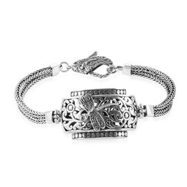 Royal Bali Collection Sterling Silver Dragonfly and Filigree Tulang Naga Bracelet (Size 7.5) with Lobster Lock, Silver wt 27.50 Gms.