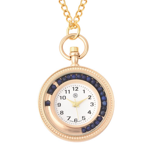 STRADA Japanese Movement Pocket Watch with Chain (Size 30) and Moving Lapis Lazuli Beads Around the