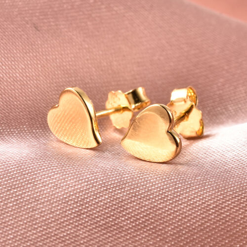 RACHEL GALLEY Yellow Gold Overlay Sterling Silver Heart Stud Earrings (with Push Back)