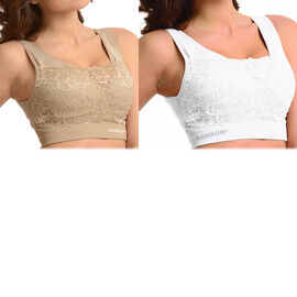 2 Piece Set - SANKOM SWITZERLAND Patent Classic with Lace Bra Including Beige and White
