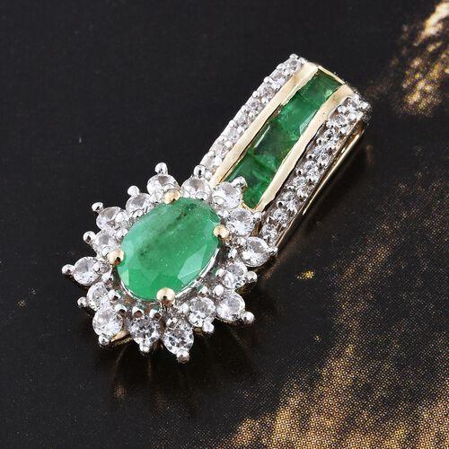9K Yellow Gold Kagem Zambian Emerald (Ovl), Natural Cambodian Zircon Pendant 1.500 Ct.
