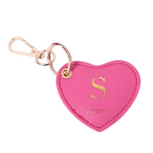 Pink Genuine Leather Heart Shaped Initial S Key Chain (7x6cm)