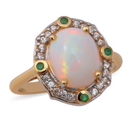 Ethiopian Welo Opal, Emerald and Natural Cambodian Zircon Ring in Yellow Gold Overlay Sterling Silve