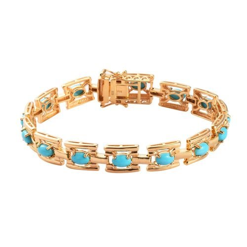 AA Arizona Sleeping Beauty Turquoise Bracelet (Size 7.5) in 14K Gold Overlay Sterling Silver 6.00 Ct