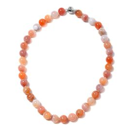 569.50 Ct Red Botswana Agate Beaded Necklace in Rhodium Plated Silver 20 Inch