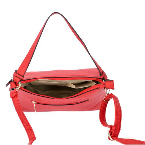 SENCILLEZ Shungite Zipper Closure Satchel Bag with Detachable Shoulder Strap (Size 30x12x22 Cm) - Red