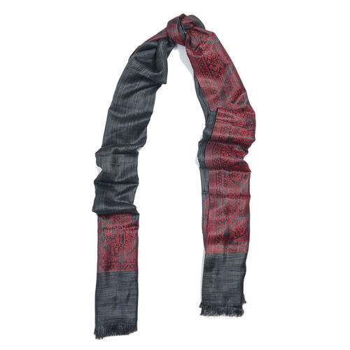 Melange Cutwork Black and Red Colour Woven Scarf (Size 180x70 Cm)