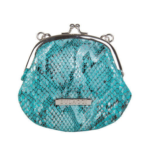 Bulaggi Collection - Jade Snake Print Coin Purse with Shoulder Chain (Size 13x11x01 Cm) - Turquoise