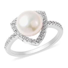 Freshwater White Pearl and Simulated Diamond Ring in Rhodium Overlay Sterling
